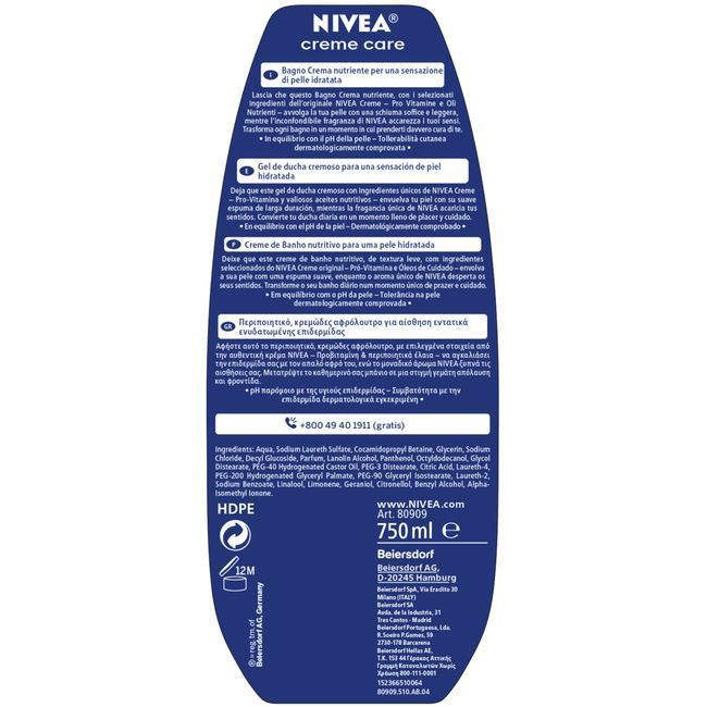 Gel de ducha NIVEA Creme Care, bote 750 ml