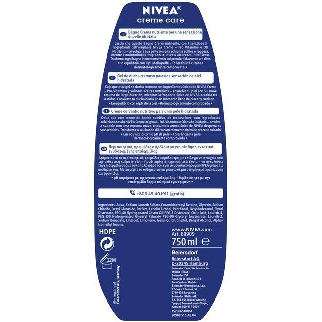 Gel de ducha NIVEA Creme Care, bote 750 ml