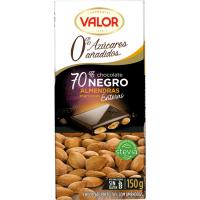 Chocolate negro 70% sin azúcar-almendras VALOR, tableta 150 g