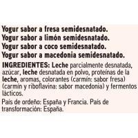 Yogur de fresa-limón-coco-macedonia EROSKI basic, pack 12x125 g