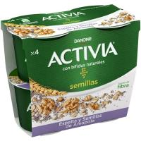 Activia de espelta-semillas de amapola DANONE, pack 4x120 g