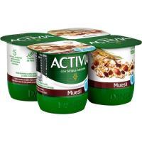 Activia de muesli 0% DANONE, pack 4x120 g