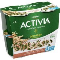 Activia de quinoa-semillas calabaza 0% DANONE, pack 4x120 g