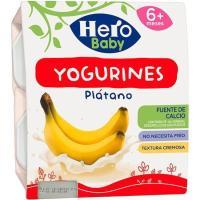Yogurines de plátano HERO Baby, pack 4x100 g
