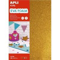 Hojas A4 Goma Eva con purpurina colores: oro, plata, verde y rojo APLI, 4uds