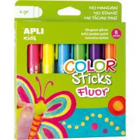 Témpera sólida Fluor Kids Stick 6 colores APLI