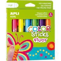 Témpera sólida Fluor Kids Stick 6 colores APLI