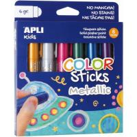 Témpera sólida Metallic Kids Stick 6 colores APLI