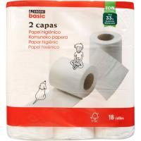Papel higiénico blanco 2 capas EROSKI basic, paquete 18 unid.