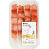 Pincho de pechuga de pollo adobado EROSKI, bandeja 360 g