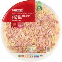 Pizza de jamón-bacón-queso EROSKI, 1 unid. 580 g