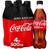 Refresco de cola COCA COLA Zero, pack 4x50 cl