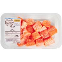 Dados de salmón EROSKI Natur GGN, bandeja 250 g