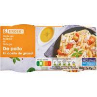 Pechuga de pollo en aceite EROSKI, pack 2 x 80 g