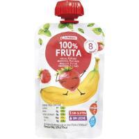 Bolsita fruta-plátano-fresa EROSKI, doypack 100 g