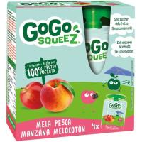 Fruta triturada de manz-melocotón 100% GOGO SQUEEZ, pack 4x90 g