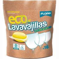 Lavavajillas gel eco FLOPP, bolsa 16 dosis