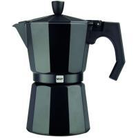 Cafetera Italiana de Aluminio Noir, apto para cocinas eléctricas, de gas y vitrocerámica, MAGEFESA, 3 Tazas
