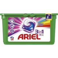 Detergente en cápsulas color 3en1 ARIEL, caja 38 dosis