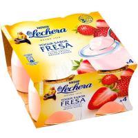 Yogur de fresa enriquecido LA LECHERA, pack 4x125 g