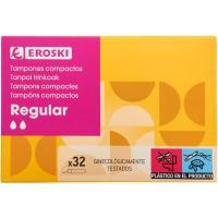 Tampón regular con aplicador compacto EROSKI, caja 32 unid.