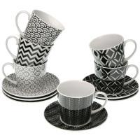 Tazas té con plato geometric, porcelana, 6uds
