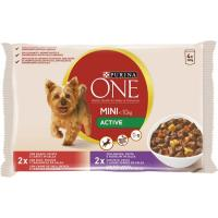 My dog is Active de buey-pato PURINA One, pack 4x100 g