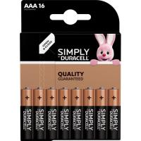 Pila alcalina Simply LR03 (AAA) DURACELL, pack 16 uds