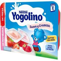 Yogolino cremoso de fresa-frambuesa NESTLÉ, pack 6x60 g