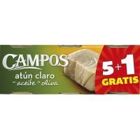 Atún claro en aceite de oliva CAMPOS, pack 6x80 g