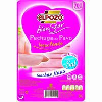 Pechuga pavo sin grasa-reducido en sal ELPOZO, bandeja 90 g