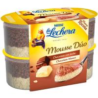 Mousse duo de chocolate blanco LA LECHERA, pack 4x59 g