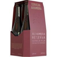 Cerveza Reserva Roja ALHAMBRA, pack botellín 4x33 cl