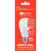 Bombilla Led eco estándar E27 10W luz cálida (3000k) SILVER, 1ud