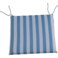 Cojin cuadrado Ibiza, rayas turquesa, lazos poliéster relleno espuma, 40x40x3 cm