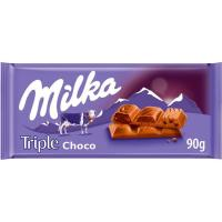 Chocolate triple sabor a chocolate MILKA, tableta 90 g