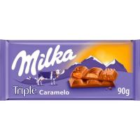 Chocolate triple sabor a caramelo MILKA, tableta 90 g