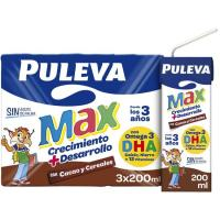 Leche de cacao-cereales PULEVA Max, pack 3x200 ml
