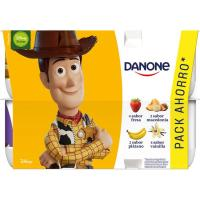 Yogur sabor fresa-maced-plátano-vainilla DANONE, pack 12x120 g