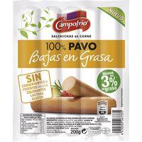Salchicha 100% pavo baja en grasa CAMPOFRÍO, sobre 200 g