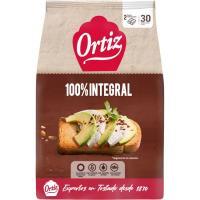 Pan tostado integral ORTIZ, 30 rebanadas, paquete 324 g
