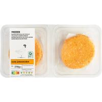 Hamburguesa de pollo-zanahoria EROSKI, 4 unid., bandeja 316 g