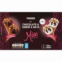 Cono midi de nata-chocolate EROSKI, 8 uds., caja 264 g