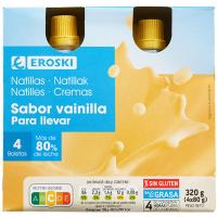 Natilla vainilla pocket EROSKI, pack 4x80 g