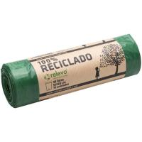 Bolsa de basura 100% reciclada 30 l. RELEVO, paquete 15 unid.