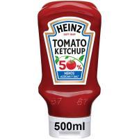 Ketchup menos azúcar-sal HEINZ, bocabajo 550 g
