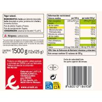 Yogur natural EROSKI basic, pack 12x125 g