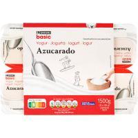 Yogur natural azucarado EROSKI basic, pack 12x125 g