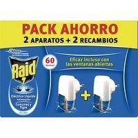 Insecticida eléctrico RAID, 2 aparatos + 2 recambios