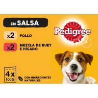 Alimento de pollo-verdura para perro PEDIGREE, pack 4x100 g